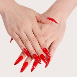 🆕 Sexy Red Stiletto Long Press On Nails